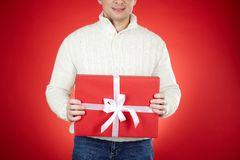 Man with Christmas gifts Royalty Free Stock Photography
