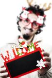 Man with christmas holding a welcome blackboard stock photos