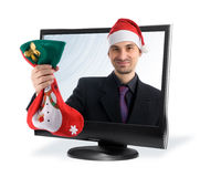 Man in a christmas ha Stock Photo