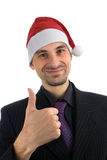 Man in a Christmas hat Stock Photos