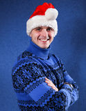 Man in christmas hat Royalty Free Stock Photography
