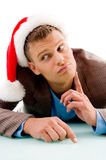 Man with christmas hat Royalty Free Stock Images