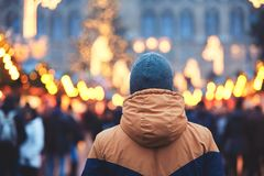 Man in christmas market Stock Photo