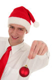 Man With Christmas Ornament Royalty Free Stock Images