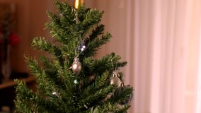Man Christmas tree decoration stock video footage