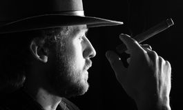 A man with cigar Royalty Free Stock Image