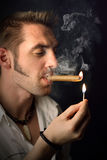 Man with a cigar Royalty Free Stock Image