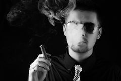 Man with cigar Royalty Free Stock Photography
