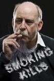 Man with cigar and smoking kills text Royalty Free Stock Image