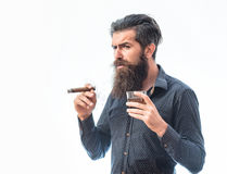 Man with cigar and whiskey. Handsome bearded tough rich man with stylish hair mustache and long beard on serious face in blue fashion shirt smoking cigar and royalty free stock photos