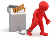 Man and Cigarette Pack (clipping path included) Stock Image