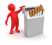 Man and Cigarette Pack  (clipping path included) Royalty Free Stock Images