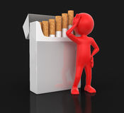 Man and Cigarette Pack  (clipping path included) Royalty Free Stock Photography