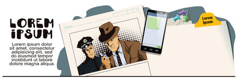 Man with cigarette and policeman. Advertising your products. Stock illustration. People in retro style. Presentation template. Man with cigarette and policeman Royalty Free Stock Photography