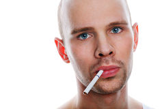 Man with cigarette on white background Royalty Free Stock Photos