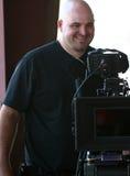 Man with cinema camera royalty free stock photo