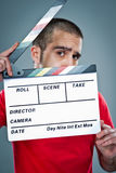 Man with a Cinema Slate Royalty Free Stock Photography