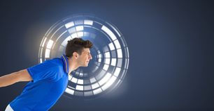 Man with circle interface. Digital composite of Man with circle interface Stock Images