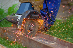 Man with circular saw Stock Image