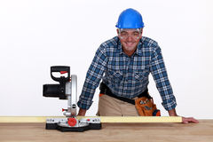 Man with circular saw Stock Photography