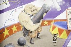 Man circus cannon. Man firing gun drawn circus wall art Royalty Free Stock Photo