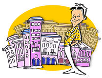 Traveller Tourist Man and City Cartoon Royalty Free Stock Photography
