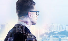 Man on city background multiexposure Royalty Free Stock Images