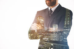 Man on city background Stock Image