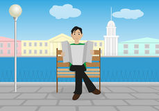 Man in the city. The man on the bench in the background of the urban landscape vector illustration