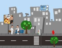 Man city cartoon view Stock Images