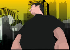 Man in the City, illustration Stock Photo