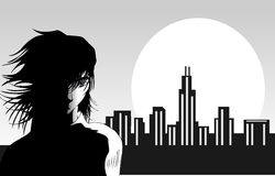 Man and the city. Illustration representing a man with hair moved by the wind with a stylized city lighted by the sun as background Royalty Free Stock Image