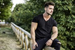 Man in city park. Attractive muscular man in city park in a nice summer day Royalty Free Stock Photography