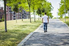 Man in city park. Back of muscular man in city park in a nice summer day walking. Full length shot Royalty Free Stock Images
