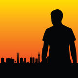 Man and the city vector Stock Image