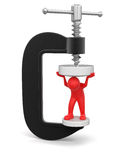 Man in clamp (clipping path included) Royalty Free Stock Photo