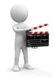 Man with Clapboard (clipping path included) Royalty Free Stock Photos