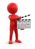 Man with Clapboard (clipping path included) Stock Image