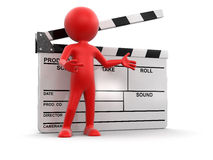 Man with Clapboard (clipping path included) Stock Photography