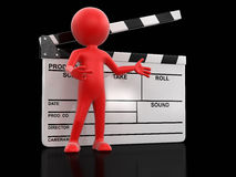 Man with Clapboard (clipping path included) Stock Photo