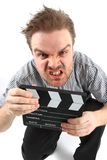 Man and clapboard Royalty Free Stock Photography