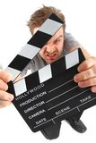 Man and clapboard Royalty Free Stock Photos