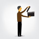 Man with clapperboard. Created with adobe illustrator. It is a vector file scale it to any size Stock Photos