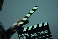 Man with clapperboard cinema Royalty Free Stock Photo