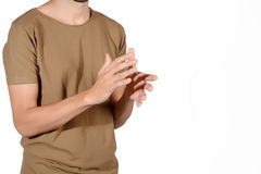 Man clapping his hands. Close-up of man clapping his hands. Isolated white background Stock Photos