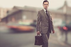 Businessman with briefcase. Man in classic grey suit with briefcase outdoors stock images