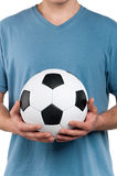 Man with classic soccer ball Royalty Free Stock Photos