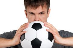 Man with classic soccer ball Stock Photos