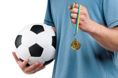 Man with classic soccer ball Stock Photo