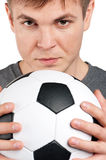 Man with classic soccer ball Royalty Free Stock Images